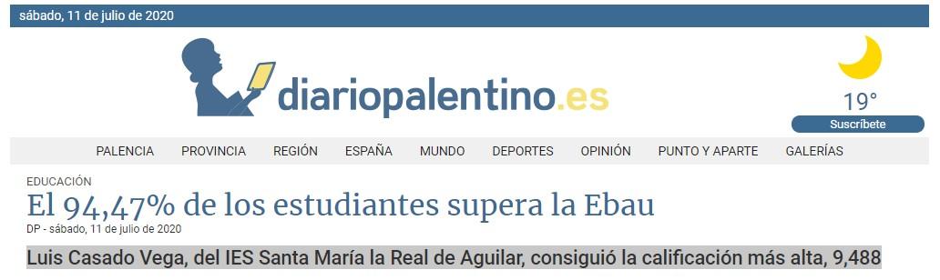 Un alumno del IES Santa María la Real de Aguilar, consiguió la calificación más alta, 9,488
